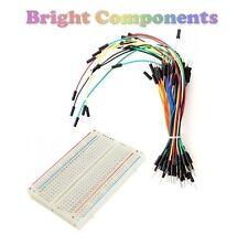 Solderless Prototype Breadboard (400 Points) + 65 Jumper Wires - Electronics