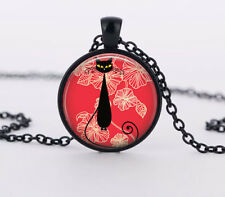 Abstract cat Charm Glass Dome Cabochon Black Ball Chain Necklace Pendant