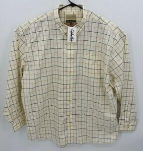NEW Cabelas Mens Care Free Cotton Long Sleeve Shirt Beige Plaid 3XL Windowpane