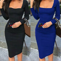 Women Party Short Cocktail Solid Bandage Bodycon Midi Dress Evening Long Sleeve