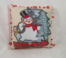 Creative Co-op Snowman Christmas Flurry's Skating Rink Pillow ~ NEW