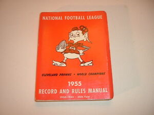 1955 NFL Records and Rules Manual Cleveland Browns