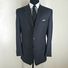 HICKEY FREEMAN BESPOKE SUIT 3 BTN. NO VENTS FLAT FRONT PANTS APPROX. 41-42 LONG