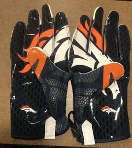 NIKE Men's VAPOR KNIT NFL Denver Broncos WR FOOTBALL GLOVES Player Issued 4XL
