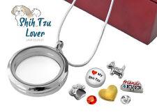 SHIH TZU LOVER 30mm Memory Locket Pendant Set Dog Floating Charms Necklace Boxed