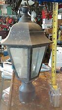 1 Vintage Metal Lantern Beveled Glass Blace Outdoor Post Pole Light Patio Gothic