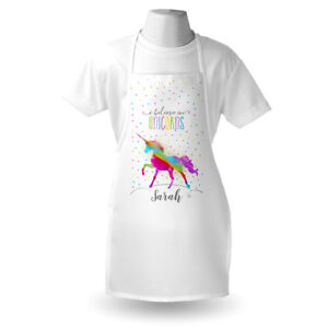 Personalised Rainbow Unicorn Apron Adults/Childs Any Name Printed For Party