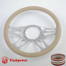14'' Billet Steering Wheels Tan Half Wrap Street Rod Jeep Wrangler CJ TJ YJ