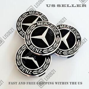 Set of 4 Black Chrome Wheel Center Caps Hubcaps Emblem Fits Mercedes Benz 75MM