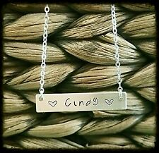 Hand Stamped Personalized Nameplate Name Necklace Sterling Silver