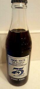COKE 75th Anniversary Bottle Atlanta Coca Cola Commemorative 10 Ounces 1975