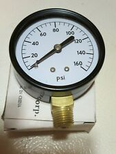 "(2) -2-1/2"" Pressure Gauges - Black Steel Case, Brass1/4""NPT,Lower Inlet 160 PSI"