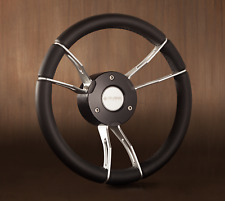New OEM Gussi Boat Steering Wheel M933 Self Leveling Center Black Leather Wrap