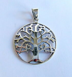 Sterling Silver (925)  Tree Of Life   ( 27 mm )  Pendant   !!   Brand   New  !!