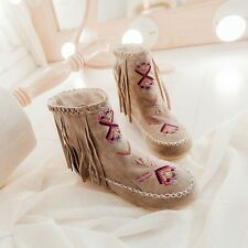 Womens Hidden Heel Diamond Moccasin Tassels Fringe  High ankle Boots Shoes Sz