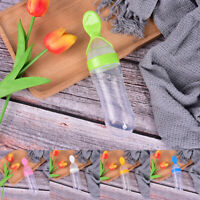 Baby Silicone Squeeze Feeding Bottle With Spoon Food Rice Cereal Feeder 90ML_dr