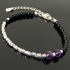Amethyst Crystal Festival Bracelet Black Onyx Sterling Silver Beads Chain 1667