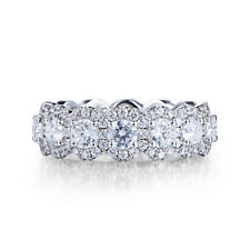 Engagement Gift 14K White Gold 6.8ct Cubic Zirconia Round 3.5mm Band Unique Ring