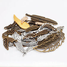 100g Steampunk Wing Feather Mixed Charms Pendant Jewelry Necklace Making Craft