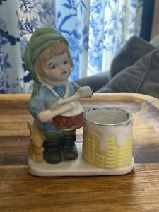 1978 Christmas Luvkins Porcelain Candle Holder Jasco  Votive Little Drummer Boy
