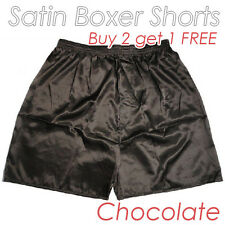 Men's Silk Satin Underwear Homewear Underpants Boxer Shorts Chocolate Buy 2get 1