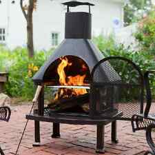Outdoor Fireplace + COVER Patio Wood Burning Pit Chiminea Heater Grill Stove