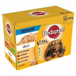 48 x 100g Pedigree Senior Wet Dog Food Pouches Mixed Selection In Jelly