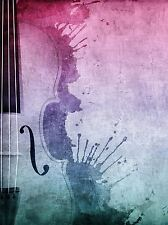 PRINT POSTER MUSIC PAINTING STRING SECTION CELLO VIOLIN PAINT SPLASH LFMP0566