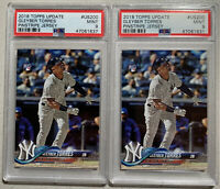 Lot (2) 2018 Topps Update Gleyber Torres RC Rookie Pinstripe Jersey #US200 PSA 9