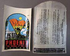 original vintage PHOENIX ARIZONA water slide travel decal car rat rod!