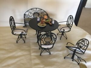 Vintage Black & White Wire Wicker Summer Patio Set Dollhouse Miniature 1:12 LOT