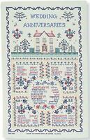 Wedding Anniversary Sampler Tea Towel Ulster Weavers 100% Linen or Cotton Floral