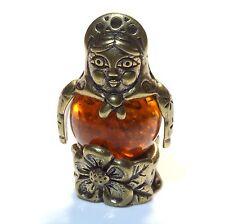 Babushka Matryoshka Brass Doll Figurine Russian Baltic Amber Miniature Sculpture