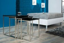 Design Table basse table Table d'appoint en NOIRE MAT Zigon Lot de 3 chrome