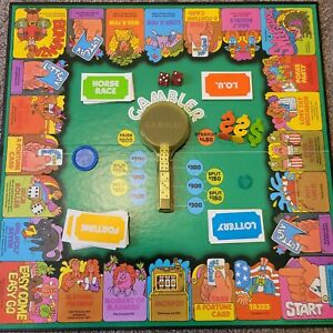 Gambler board game FROM 1977 Game No. 49.  Missing 1 place holder/ 3 pogs.