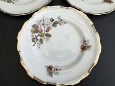 4 VINTAGE ROYAL IMPERIAL APPLE BLOSSOM GILDED DINNER PLATES 23cm - GOOD COND