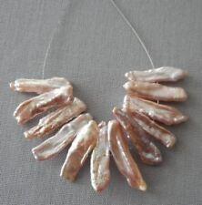 12pcs-Mauve pearls-Genuine Pearl-sticks, Biwa Pearls loose beads,