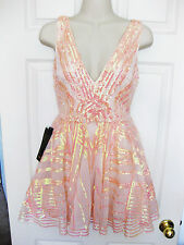 BEBE PINK IRIDSCENT SEQUIN MESH FIT & FLARE DRESS NEW NWT $198 LARGE L