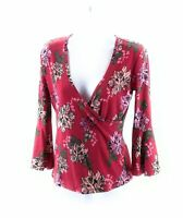 Hot Kiss Womens Top Red Floral V Neck 3/4 Bell Sleeve