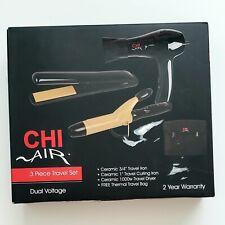 CHI AIR 3 piece Travel Set Dual Voltage Iron, Curling Iron, Dryer, Travel Bag
