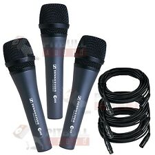 Sennheiser e835 Vocal Microphone 3 pack w/ 18' XLR Cables Bundle