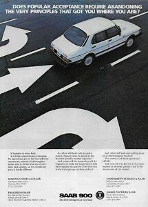 1985 1986 Saab White 900 Sedan Original Car Vintage Poster Print Ad