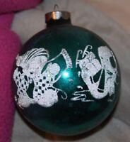 "Vintage 50s Mercury Glass Stencil skates Christmas Ornament 3"" stamped U.S. of A"