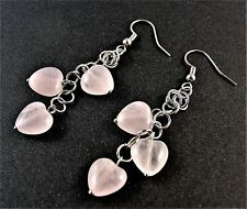 1 Natural Pair of Rose Quartz Dangle Earrings with 3 Gemstone Hearts - # 407