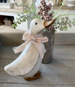 15cm Carved Wooden Style Duck White Decorative Sculpture Ornament Figurine Gift