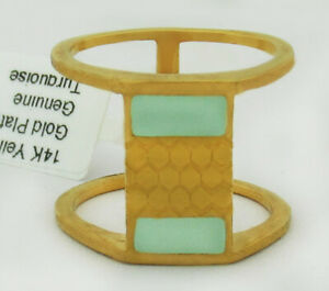 GENUINE TURQUOISE RING 14K YELLOW GOLD PLATED ** New With Tag ** Size 7