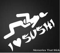 I love Sushi  Funny Novelty Car Window Bumper JDM VW EURO Vinyl Decal Sticker
