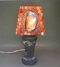 Antique Écran de lampe de table avec Pierres semi-précieuses