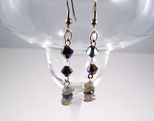 Earrings Labradorite/Crystals Silver Plated Drop 2.25 in. Handmade GB USA New