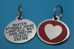 Laser Engraved Stainless Steel Dog ID tag HEART design in 6 colours
